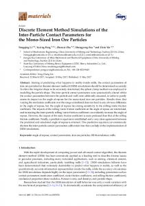 Discrete Element Method Simulations of the Inter-Particle Contact ...