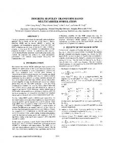 Discrete hartley transform based multicarrier ... - Semantic Scholar