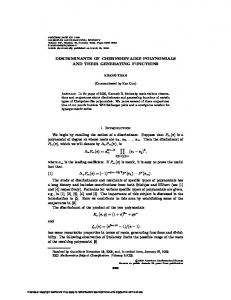 DISCRIMINANTS OF CHEBYSHEV-LIKE POLYNOMIALS AND THEIR ...