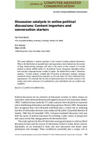 Discussion catalysts in online political discussions - Wiley Online Library