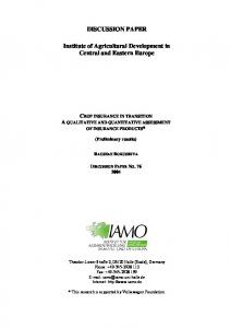 DISCUSSION PAPER Institute of Agricultural ... - AgEcon Search