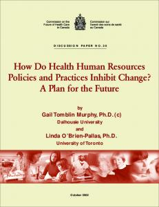 Discussion Paper No. 30: How Do Health Human Resources Policies ...