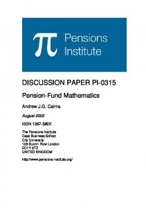 DISCUSSION PAPER PI-0315