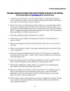 Discussion Questions for Harry Potter and the Chamber of Secrets ...