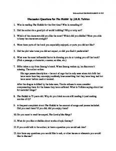 Discussion Questions for The Hobbit by J.R.R. Tolkien - Galesburg ...