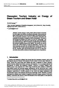 Discussion Tourism Industry on Energy of Green Tourism and Green ...