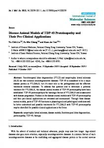 Disease Animal Models of TDP-43 Proteinopathy and ... - BioMedSearch