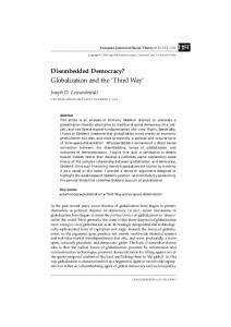 Disembedded Democracy? Globalization and the 'Third Way'