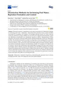 Disinfection Methods for Swimming Pool Water: Byproduct ... - MDPI