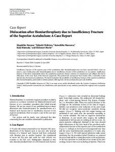 Dislocation after Hemiarthroplasty due to Insufficiency Fracture of the