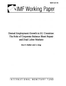 Dismal Employment Growth in EU Countries - IMF