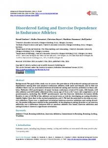Disordered Eating and Exercise Dependence in Endurance Athletes