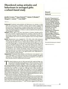 Disordered eating attitudes and behaviours in teenaged girls: a school ...
