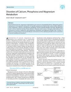 disorders of Calcium, Phosphorus and magnesium metabolism