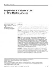 Disparities in Children's Use of Oral Health Services - Europe PMC