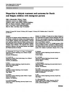 Disparities in dialysis treatment and outcomes for ... - Springer Link