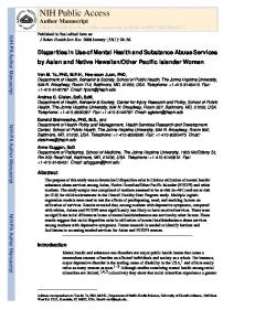 Disparities in Use of Mental Health and Substance Abuse Services by ...