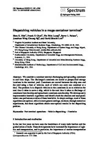 Dispatching vehicles in a mega container terminal - Department of