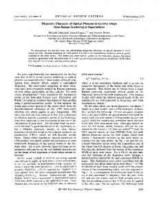 Dispersive character of optical phonons in ... - APS Link Manager