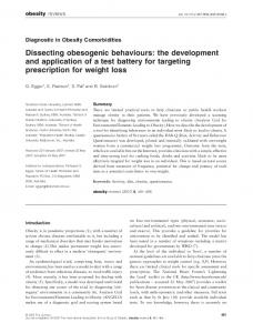 Dissecting obesogenic behaviours: the development and application ...