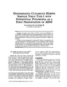 DISSEMINATED CUTANEOUS HERPES SIMPLEX VIRUS ... - NCBI