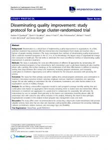 Disseminating quality improvement: study protocol for ... - BioMedSearch