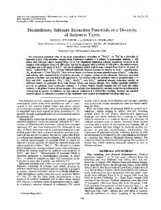 Dissimilatory Selenate Reduction Potentials in a Diversity of Sediment ...
