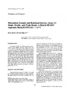 Dissociation Energies and Rotational Barriers About CC Single ...