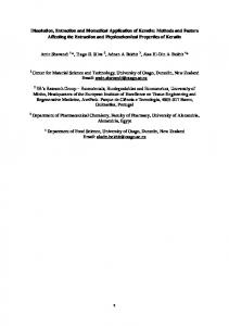 Dissolution, Extraction and Biomedical Application of Keratin: Methods ...