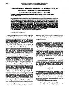 Dissolution Kinetics for Atomic, Molecular, and