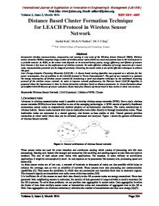 Distance Based Cluster Formation Technique for LEACH Protocol in