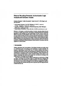 Distance Bounding Protocols: Authentication Logic Analysis and ...