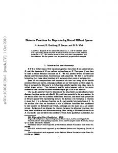 Distance Functions for Reproducing Kernel Hilbert Spaces