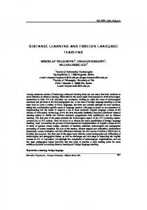 distance learning and foreign language teaching - CiteSeerX