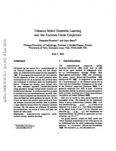 Distance Metric Ensemble Learning and the Andrews-Curtis Conjecture