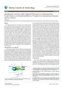 Distilling the Genetics of the Vitamin D Receptor to Understand the ...