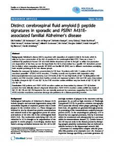 Distinct cerebrospinal fluid amyloid β peptide ... - BioMedSearch