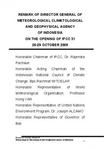 Distinguished Ladies and Gentlemen - IPCC