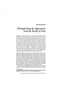 Distinguishing the Appearance from the Reality of