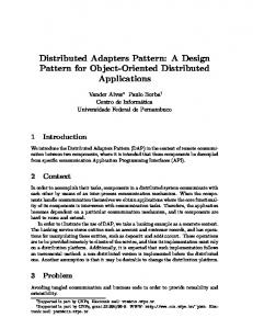 Distributed Adapters Pattern: A Design Pattern for Object ... - CiteSeerX