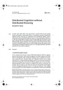 Distributed Cognition without Distributed Knowing - CiteSeerX