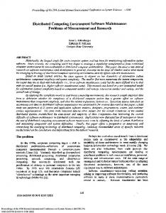 Distributed Computing Environment Software Maintenance: Problems ...