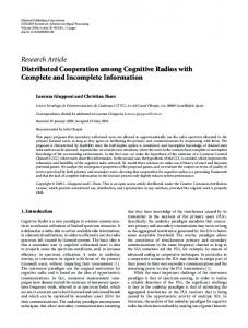 Distributed Cooperation among Cognitive Radios with Complete and ...
