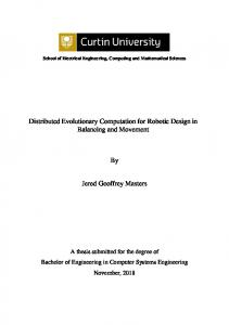 Distributed Evolutionary Computation for Robotic