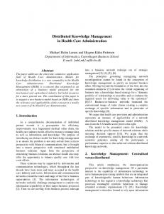 Distributed Knowledge Management in Health Care ... - CiteSeerX
