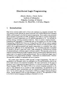 Distributed Logic Programming 1 Introduction