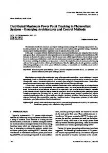 Distributed Maximum Power Point Tracking in Photovoltaic Systems