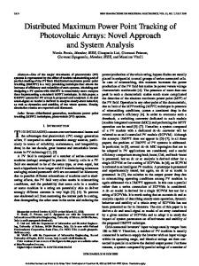 Distributed Maximum Power Point Tracking of ... - CiteSeerX