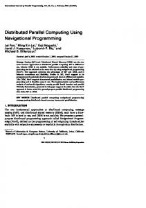 Distributed Parallel Computing Using Navigational Programming