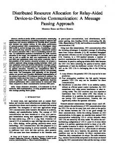 Distributed Resource Allocation for Relay-Aided Device-to ... - arXiv